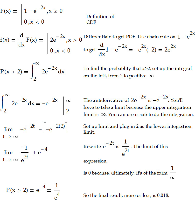Converting a CDF to a PDF and finding a probability – Calculus Coaches